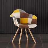 Jago Polypropylene Upholstered Side Chair in Brown/Yellow/White (Set of 2) by Corrigan Studio®