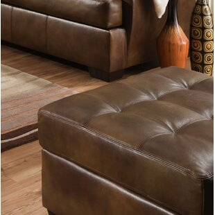 Joan Leather Tufted Ottoman by Millwood Pines