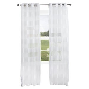Byrd Striped Semi-Sheer Grommet Single Curtain Panel