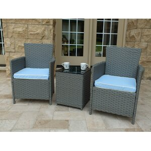 Rockleigh 3 Piece Rattan Conversation Set with Cushions