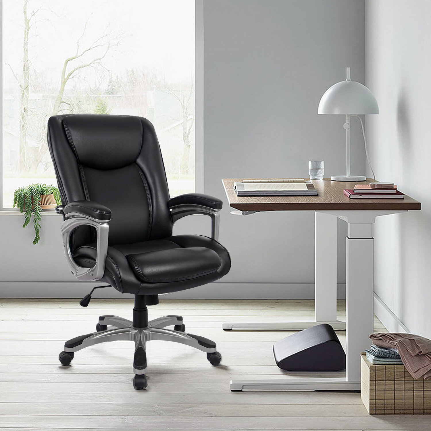 RIMIKING Ergonomic Memory Foam Executive Office Chair - Adjustable Height  Built-In Lumbar Support Tilt Angle Computer Desk Chair, Swivel Thick Padded  For Comfort | Wayfair.ca