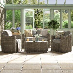 4-tlg. Sitzgruppe Bunbury mit Kissen von Rowlinson Garden Products