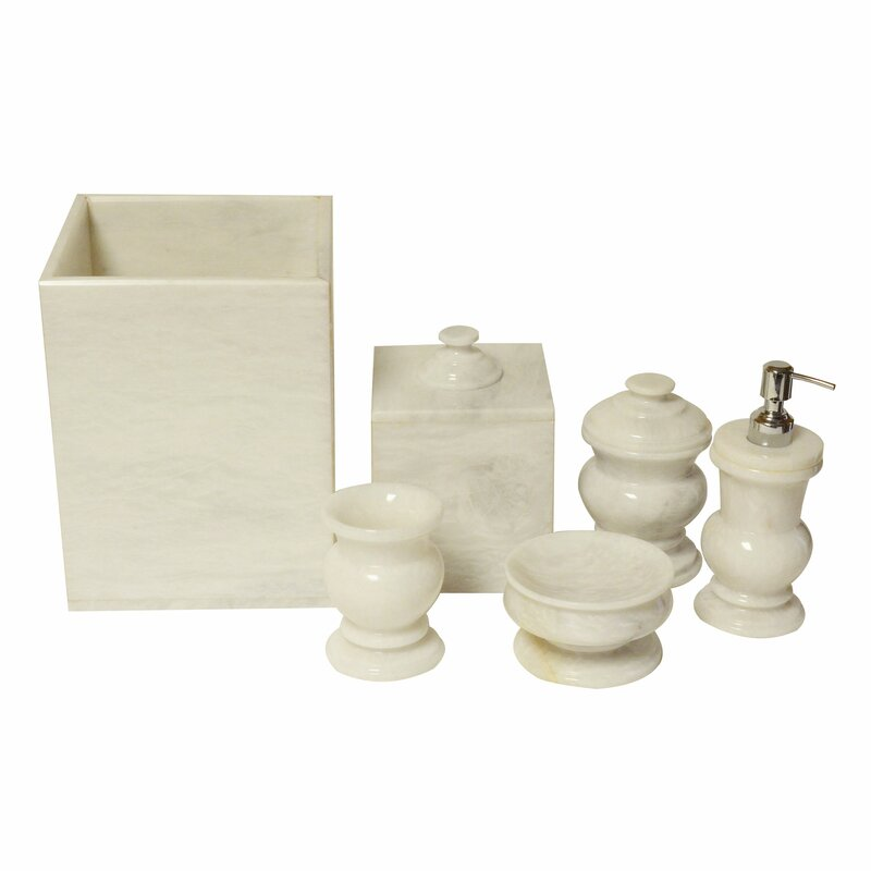 Polished Marble 6 Piece Bathroom Accessory Set