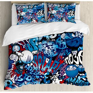 Modern Ager Style Image Wall Street Graffiti Graphic Colorful Design Artwork Duvet Set