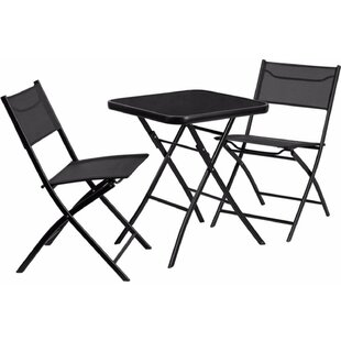 Wrought Studio Charney Square Tempered Glass/Metal 3 Piece Bistro Set