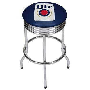 Miller Lite Minimalist Ribbed 28.5 Swivel Bar Stool Trademark Global