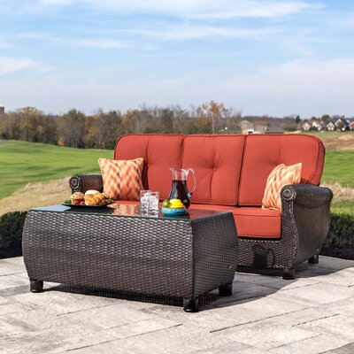 Breckenridge 2 Piece Rattan Sunbrella Sofa Seating Group with Cushions La-Z-Boy Outdoor Cushion Color: Brick Red