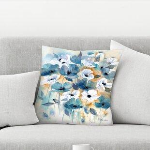 Rachel Mcnaughton Blue Beige Anemones Throw Pillow