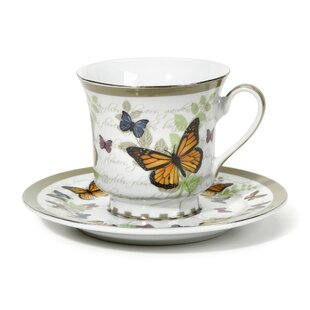 Cheatom Butterfly Pattern 12 Piece Tea Cup and Saucer Set (Set of 12)