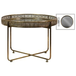 Abbas Modish Low Round Metal Tray Table With Mirror Top