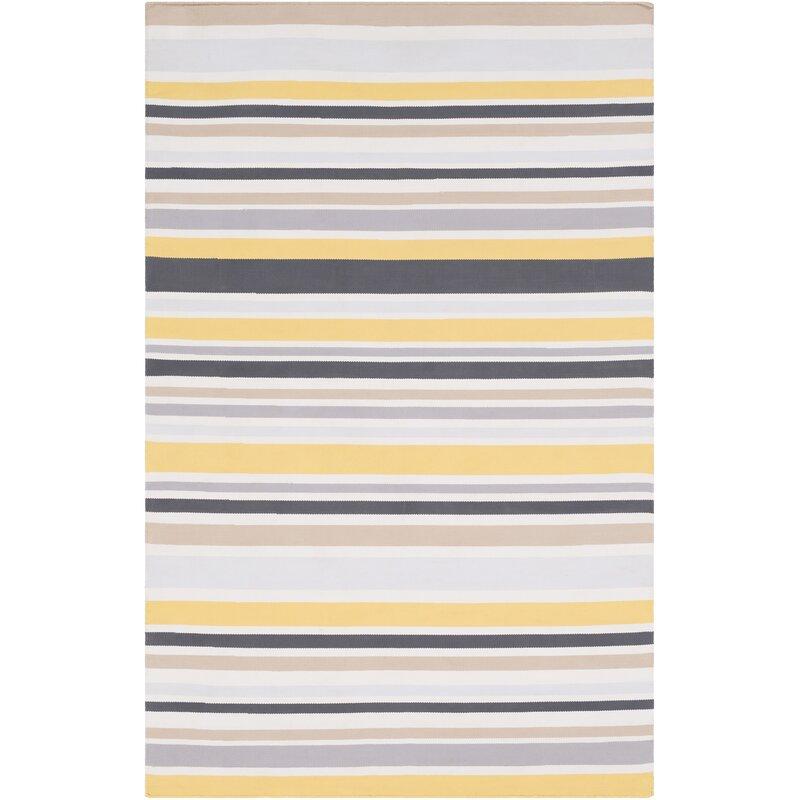 Rosecliff Heights Bybrook Hand Woven Flatweave Light Gray Yellow Rug Wayfair