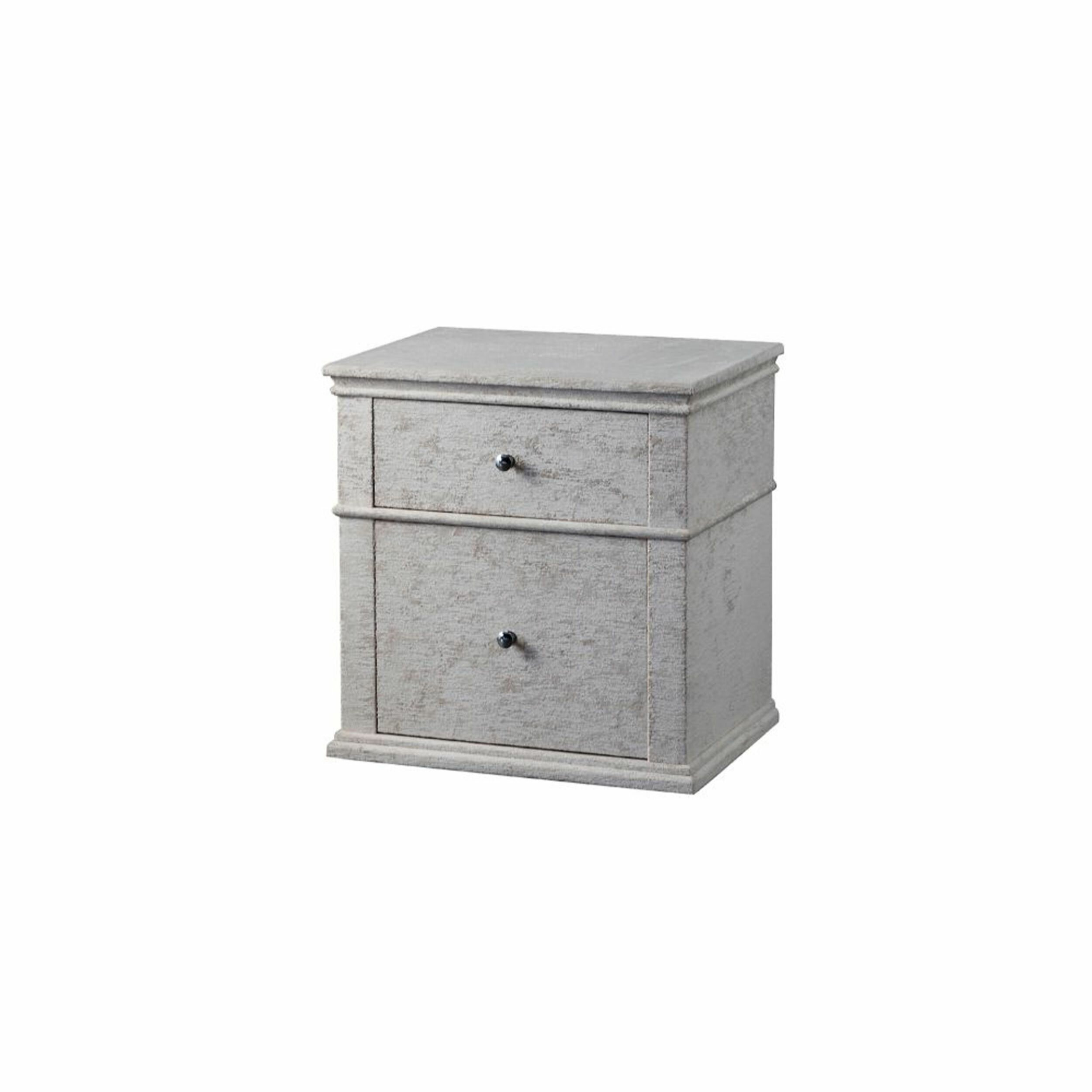 Fabric Upholstered Wooden Nightstand With Two Drawers Light Grey