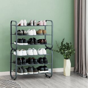 Find a 3-Tier Wire Shelves Hall Entryway 9 Pair Stackable Shoe Rack By Rebrilliant