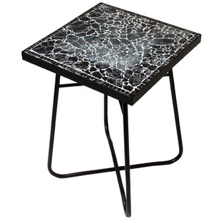 Cracked Black Mosaic End Table by Urban Designs