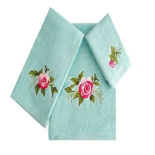 Ryann Roses 3 Piece 100% Cotton Towel Set