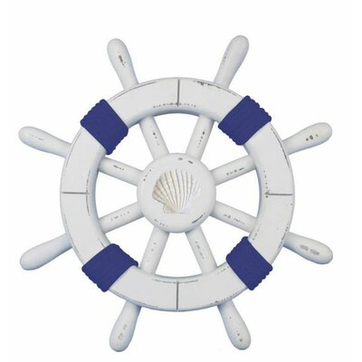 """Rustic Ship Wheel Wall Décor Handcrafted Nautical Decor Color: White/Dark Blue, Size: 18"""" H x 18"""" W x 1"""" D"""