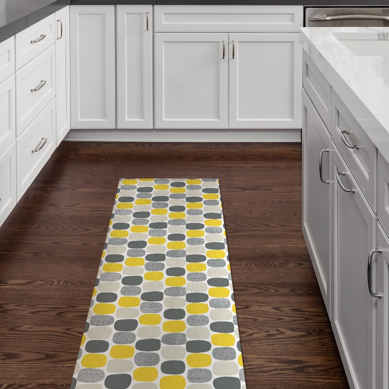 George Oliver Meadowlands Ovals Yellow/Gray/Light Gray Rug | Wayfair