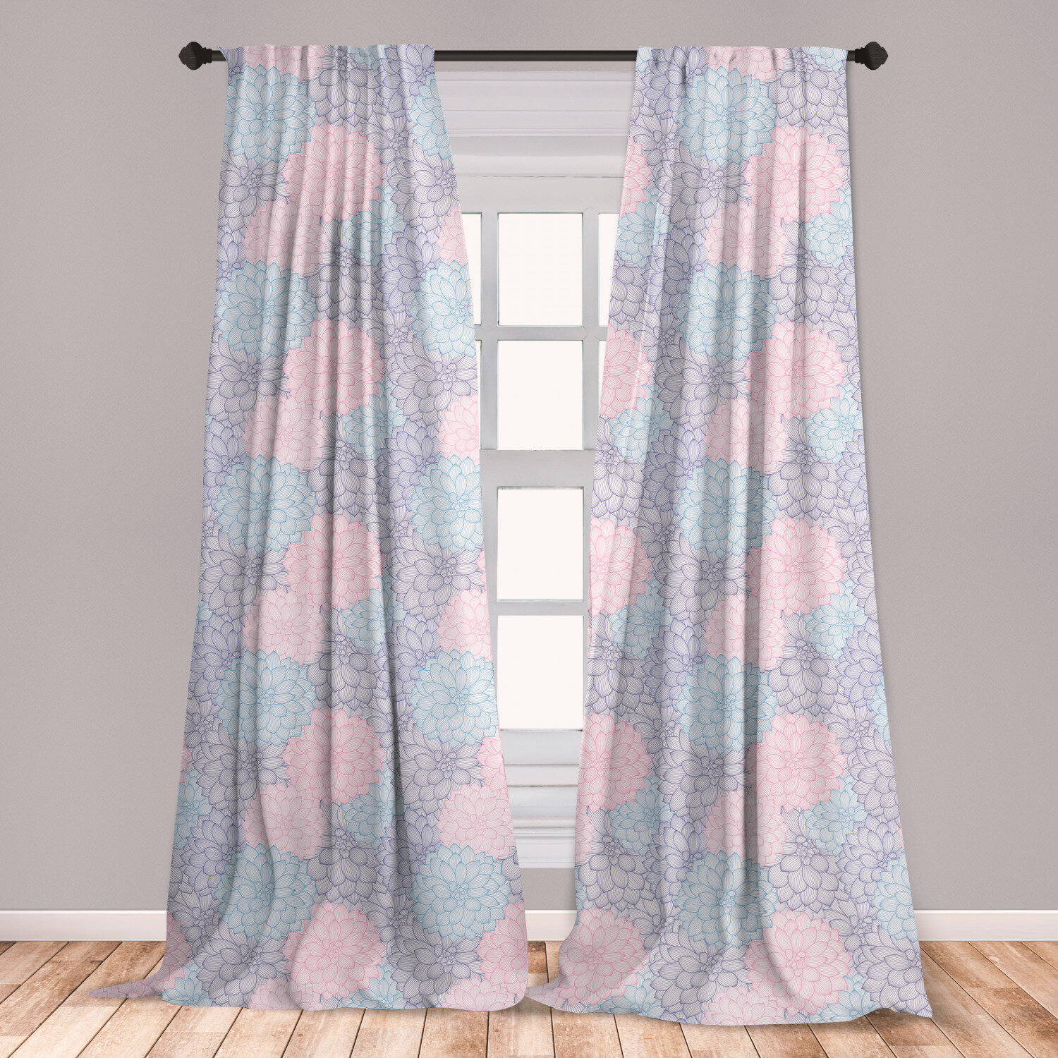 East Urban Home Ambesonne Dahlia Curtains Stripy Hand Drawn Dahlia Pale Colored Blossoms In Pink Purple And Blue Window Treatments 2 Panel Set For Living Room Bedroom Decor 56 X 63 Sea Green Rose Taupe