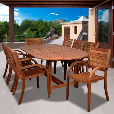 Trisler International Home Outdoor 9 Piece Dining Set by Highland Dunes Best Design