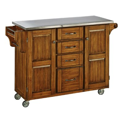 Adelle-a-Cart Kitchen Island with Stainless Steel Top Base Color: Oak by August Grove