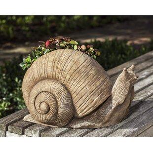 Campania International Doorkeeper Snail Cast Stone Statue Planter