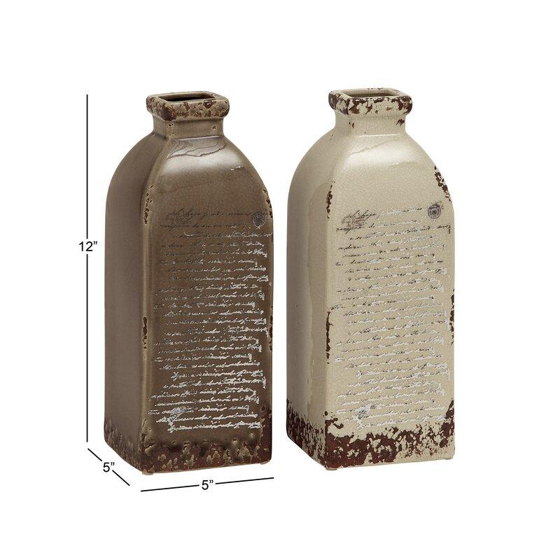 Beachcrest Home Waterville Grey And Cream Ceramic Vase Set Reviews