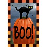 Boo Cat 2-Sided Polyester 12 x 18 in. Garden Flag