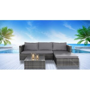 PE Wicker Rattan Pool Patio Garden 3 Piece Sectional Seating Group with Cushion