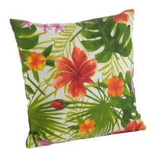 Tropical Hibiscus Floral Indoor/Outdoor Throw Pillow