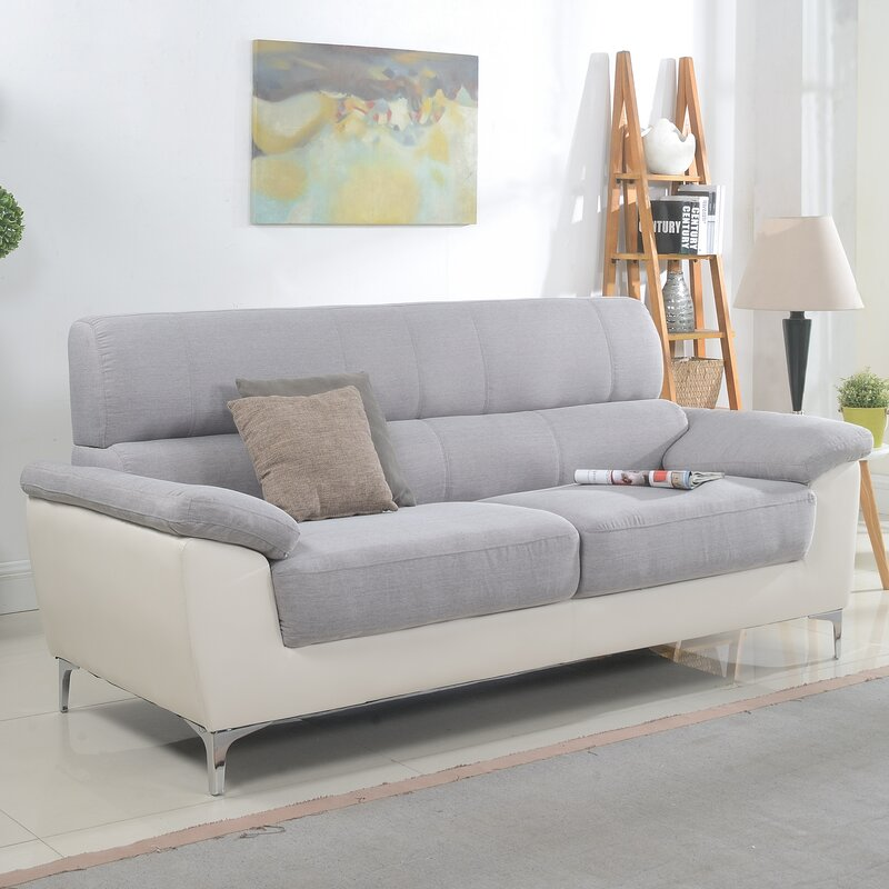 Modern Two Tone Fabric And Bonded Leather Living Room Sofa
