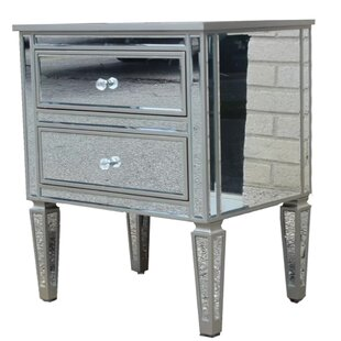 Holcomb Mirrored 2 Drawer Nightstand