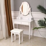 Dasher Vanity Set with Stool and Mirror by Ophelia & Co.