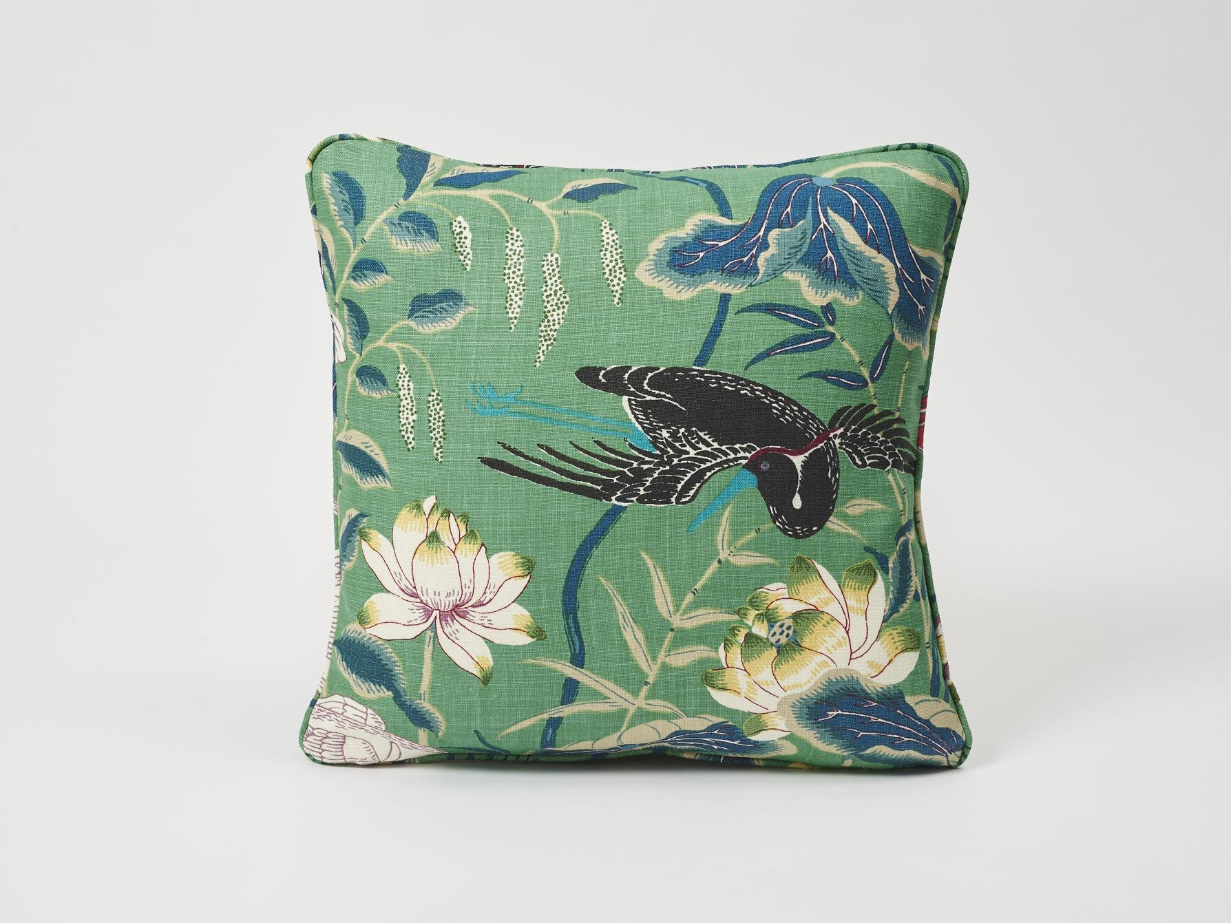 Schumacher Lotus Garden Linen Floral Throw Pillow Perigold