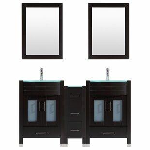 Peterman 84 Double Bathroom Vanity Set with Mirror and Glass Top by Orren Ellis