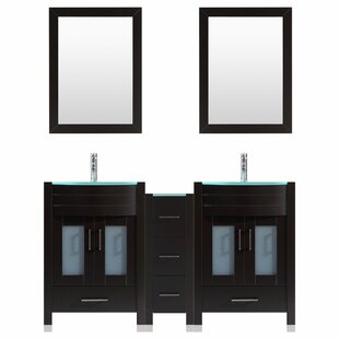 Peterman Modern 72 Double Bathroom Vanity Set with Rectangular Mirror by Orren Ellis