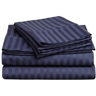 Darby Home Co Rieger 300 Thread Count Premium Long-Staple Combed Cotton Stripe Waterbed Queen Sheet Set