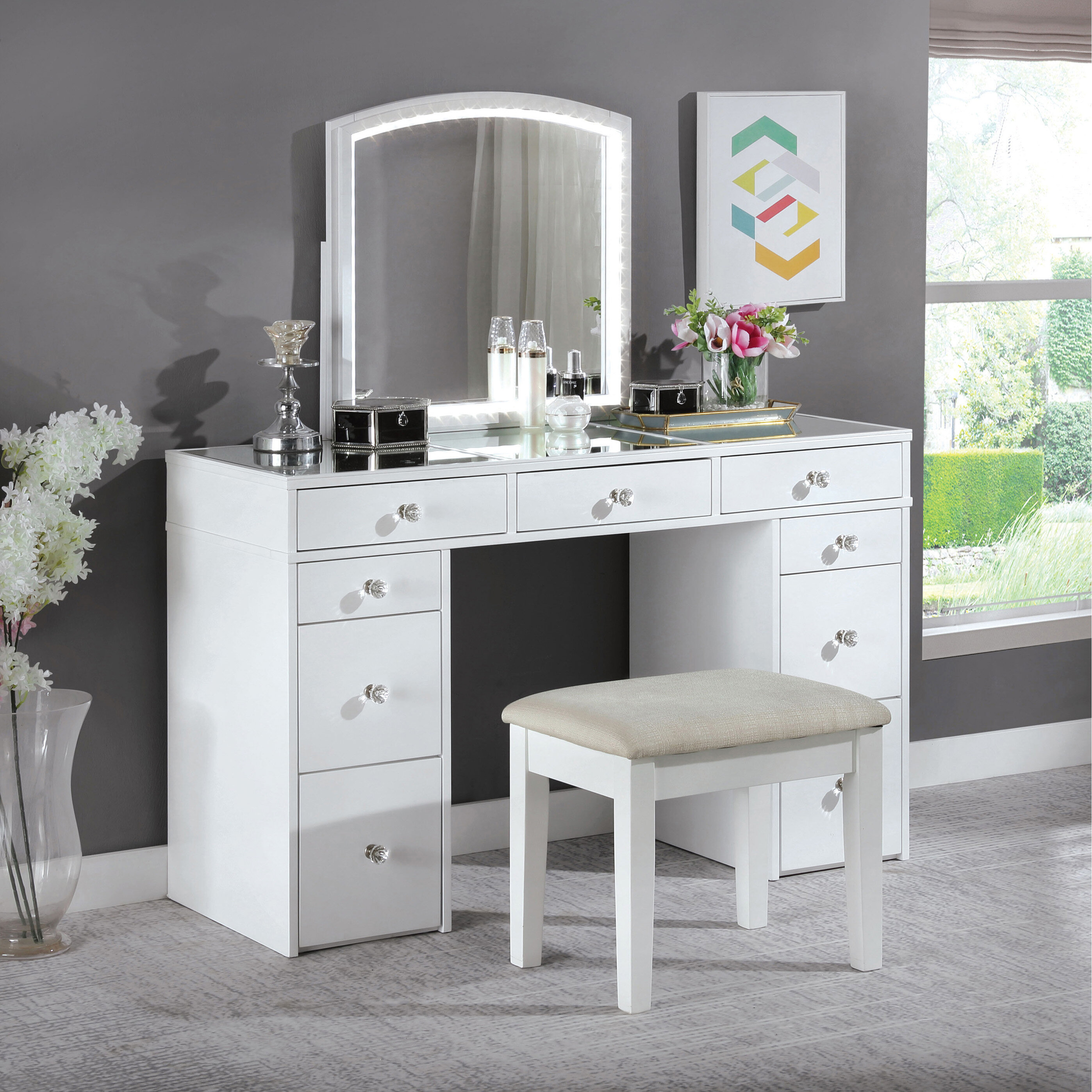 Hana Vanity Set with Stool and Mirror