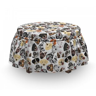 Types Of Dog Faces Heads Ottoman Slipcover (Set Of 2) By East Urban Home