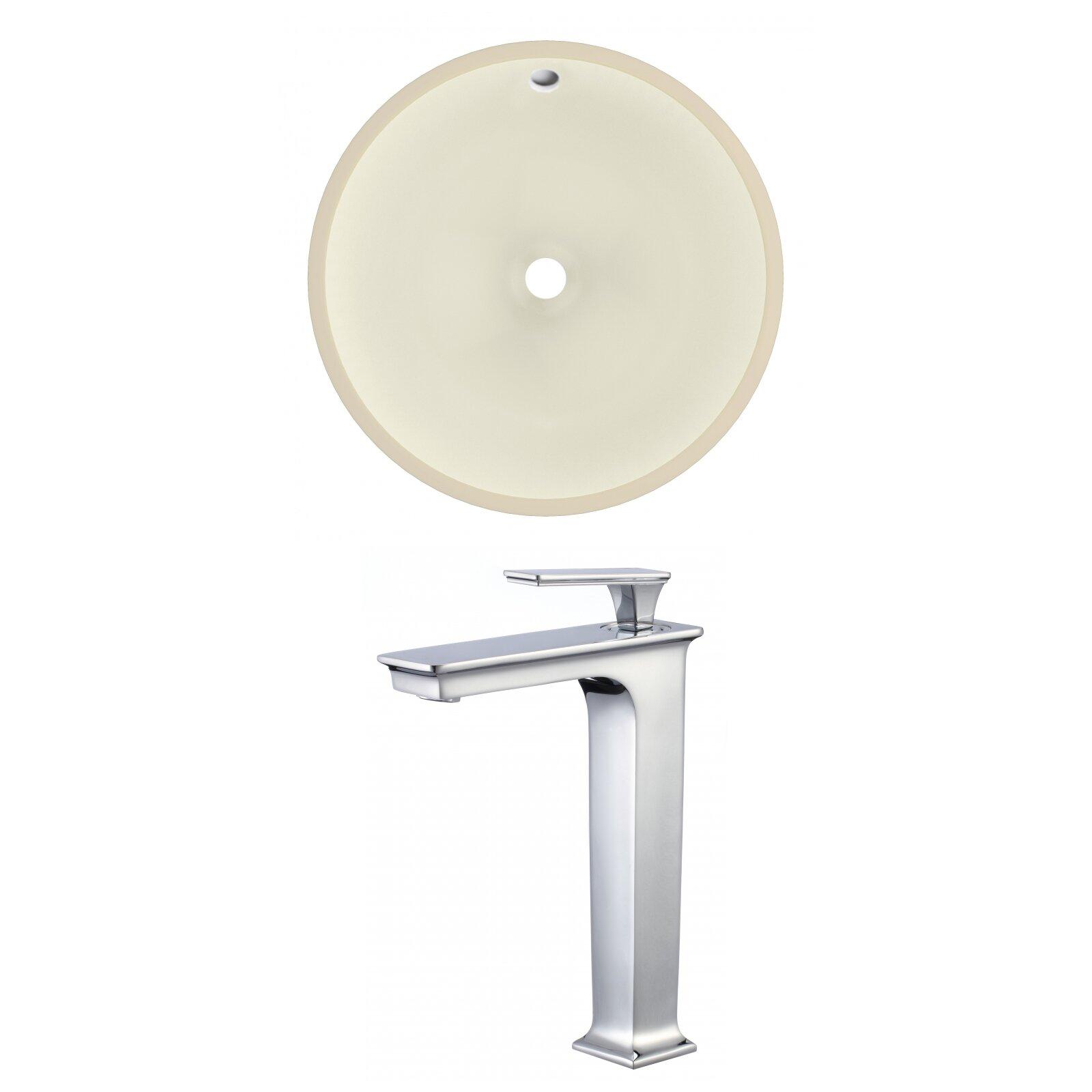 Avanities Ceramic Circular Undermount Bathroom Sink With Overflow And Faucet Wayfair