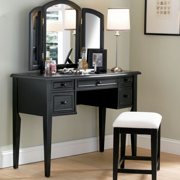 darby home co burhardt vanity set with mirror reviews wayfair - Black Vanity Set