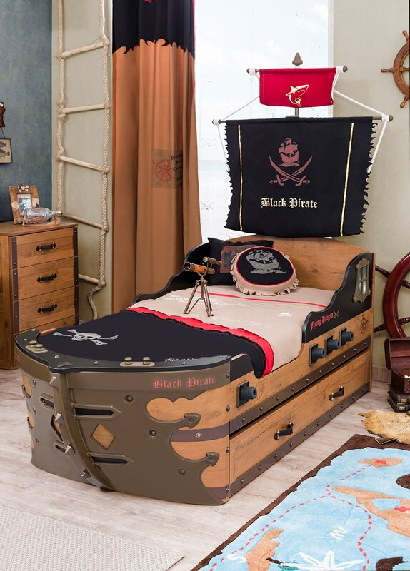 black pirate captain bed with trundle