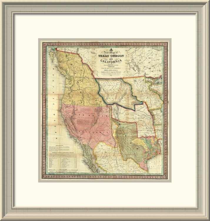 East Urban Home \'A New Map of Texas Oregon and California, 1846 ...