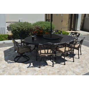 Bayou Breeze Maccharles 10 Piece Dining Set with Cushions