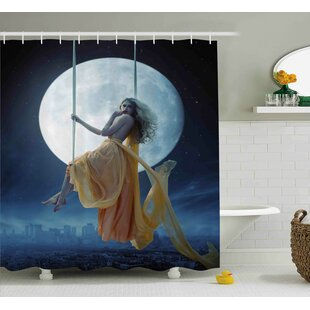 Space Swing in the Sky Moon Single Shower Curtain