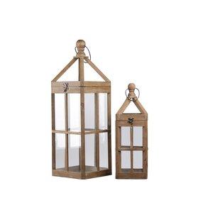 Square 2 Piece Wood Lantern Set by Charlton Home