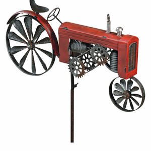 Americana Farm Tractor Garden Stake Spinner