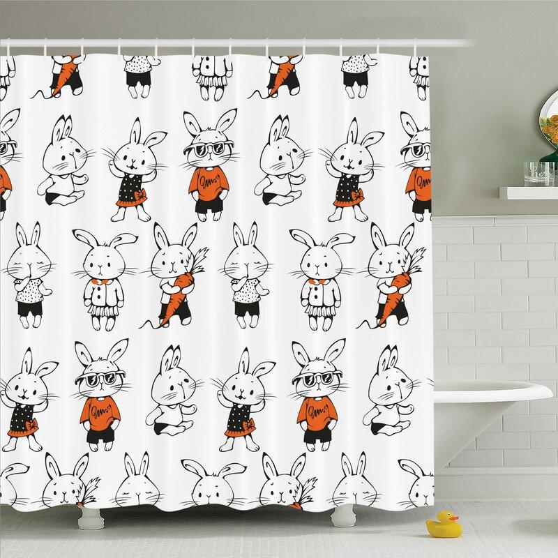 Gretna Cute Retro Bunny Rabbits Shower Curtain Set