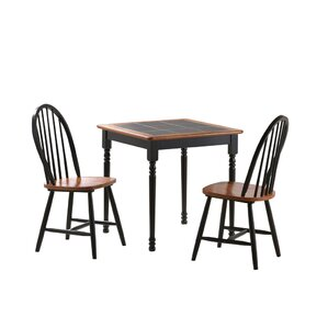 3 Piece Square Dining Set by Boraam Industries Inc