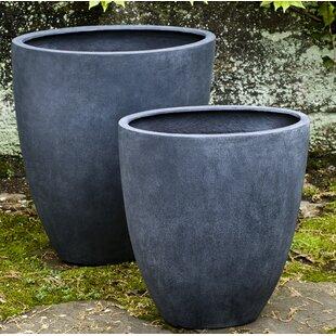 17 Stories Pezzano 2-Piece Fiberglass Pot Planter Set