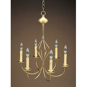 Sockets Center Bulge J-Arms Hanging 6-Light Candle-Style Chandelier
